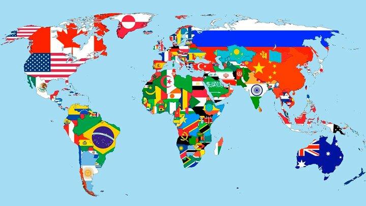 Флаги на мировой карте